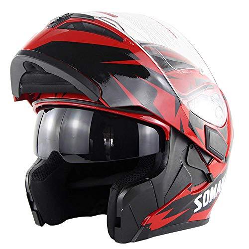 Preisvergleich Produktbild Motorcycle Full Face Helmet Dual Visors Lightweight ABS Air Vent Face Helmet Flip up Dual Visor Sun ShieldMotorbike Adult Touring Sports