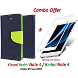 Shopping Monk Xiaomi Redmi Note 4 / Mi Redmi Note 4 / Redmi Note 4 (COMBO OFFER) Wallet Style Flip Cover Case For Xiaomi Redmi Note 4 ( Blue:green ) + Premium 2.5D Curved 9H Hardness Tempered Glass Screen Protector (White)