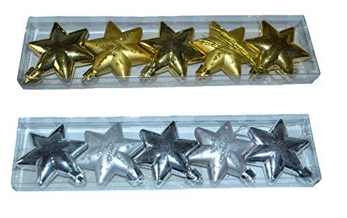 Warenplus2014 2 set di stelle, 5 x oro + 5 x argento (2 x opachi, 3 x lisci) per albero di natale/finestra