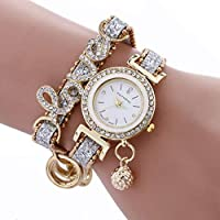 HasiDun many types Fashion Casual Vintage Diamond Pendant Watches Ladies Love Style Chains Bracelet Wrist Watch Valentine