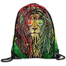 Yesliy Rasta Lion Cool - Mochila unisex con cordón y cordón