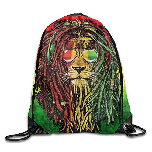 Yesliy Rasta Lion Cool Unisexe Cordon de serrage Sac à dos de voyage Sac de sport avec cordon Faisceau Port Sac à dos.