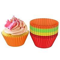 أكواب خبز من السيليكون/بطانات الكب كيك، قوالب كعك كعك مقاومة للالتصاق قابلة لإعادة الاستخدام، أدوات خبز آمنة للاستخدام في الميكروويف وغسالة الأطباق، مجموعة من 24 كوب من شيف بادي