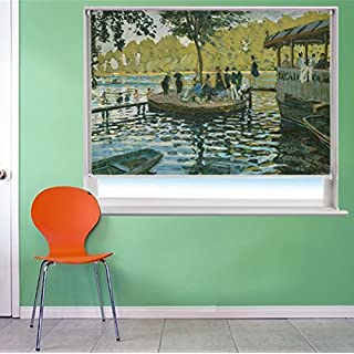 MONET BAIN À LA GRENOUILLÈRE ART Printed Picture Blackout Photo Roller Blind - Custom Made Printed Window Blind