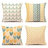 Sunyuey Linen Decorative Throws Pillows Cushions Covers Creative Pillowcase for Sofa Bedroom(45x45cm/18x18 In) Set of 4(Yellow)