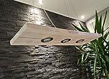 Hängeleuchte Holz 80-150cm Natur Weiß Eiche Nussbaum Deckenlampe Hängelampe Pendelleuchte Massiv Holz mit LED´s GU10 Hängeleuchte Shabby (Weiß, strukturiert, lackiert, 150cm mit 5 Spots)