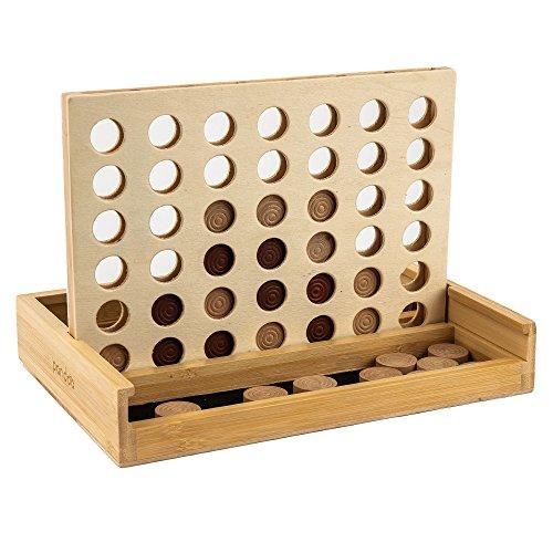 pandoo Strategiespiel Vier Gewinnt aus Bambus | Gesellschaftsspiel für 2 Personen | Kinderspielzeug geeignet ab 6 Jahren