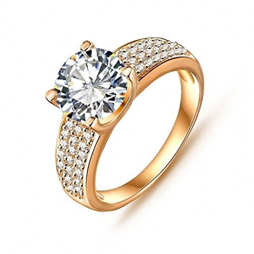 Daesar Vergoldet Ringe Damen Runde Zirkonia Ring Strass Verlobungsring Stein Ring Größe: 54 (Runde Letzte Kostüme)