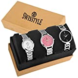 #5: Swisstyle Analogue White Black Pink Dial Women's Combo Of 3 Watch - Ss-3Cmb-01