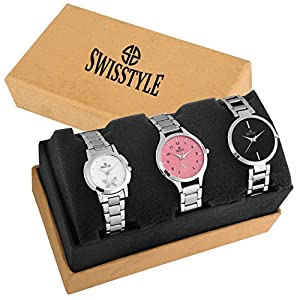 Swisstyle Analogue White Black Pink Dial Women's Combo Of 3 Watch – Ss-3Cmb-01