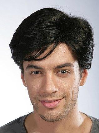 Reif Jugend des% für% Realität Männer Haar Perücke kurze Haare wirklich Haar glatt und schwarzen ()