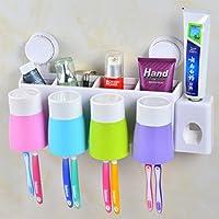 Soporte para cepillo de dientes y pasta de dientes dispensador de soporte de pared para multifuncional