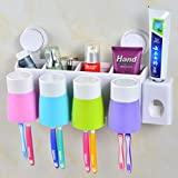 Zahnbürstenhalter und Zahnpastaspender Wandhalterung multifunktionale Halterung Aufbewahrung mit 4 Tassen