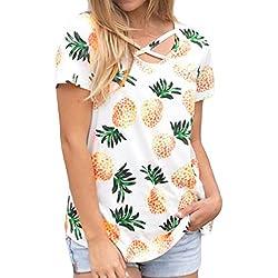 8fa03be6bd Camisetas Mujer Algodon,Camiseta de Verano de la impresión de la piña de la