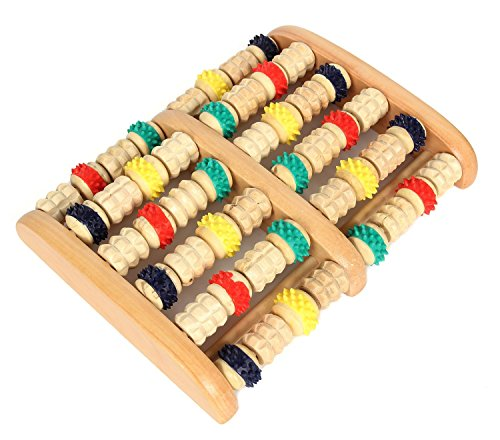 HealthPanion Set of 1 Colorful Wheels Wood Foot Roller - DIY Foot Massager Tool - Treat Yourself to the Benefits of Reflexology and Relaxing Foot Massages at Home