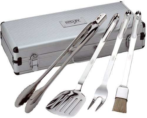 All-Clad T147 Stainless Steel Tongs Spatula Fork and Brush BBQ Tools Cookware Set, 4-Piece, Silver by All-Clad