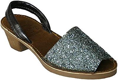 15010G - Sandalia ibicenca glitter con tacón plata