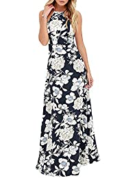 Romacci Sexy Women Maxi Dress Halter Neck Floral Print Sleeveless Summer  Beach Long Slip Dress S-5XL ba2f33fa4bff
