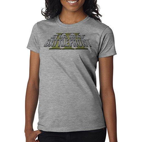 Star Wars Battlefront Jedai Yedi Game 3 Logo Art Damen T-Shirt Grau