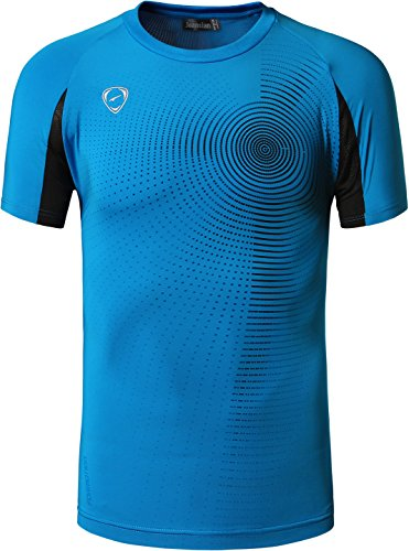 jeansian Hombre Camisetas Deportivas Wicking Quick Dry tee T-Shirt Sport Tops LSL133 (US S(165-170cm 60-65kg), LSL013_Oceanblue)