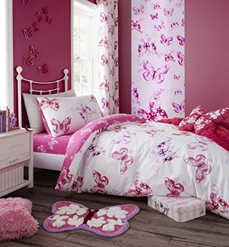 Catherine lansfield, biancheria da letto con farfalla, rosa, pink, 27 x 3.5 x 37 cm