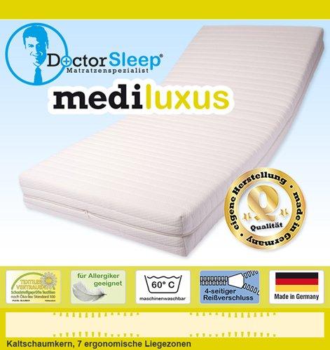 Doctorsleep Mediluxus 7-Zonen-Kaltschaum-Kern-Matratze 18 cm mit Bezug - Milano E.C. Größe: 120x210 cm Härtegrad 3 -