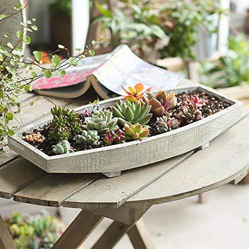 ländlichen Retro Massivholz Tong Holz Boot Form Blumentopf handgefertigten Garten Bonsai Rahmen Blumentopf Rack Balkon Terrasse Display Stand Pflanze Rahmen, Holzfarbe, 40 * 4cm