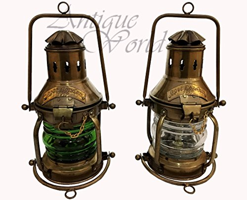 Antiques World Antique Stylish High Quality Vintage 1919 Antiquated White & Green Ship Lamp Rose London Boat Maritime Lantern Lamps & Lighting AWUSAML 041