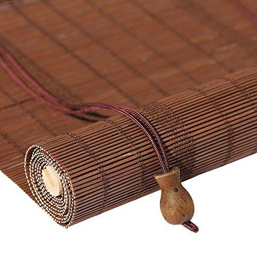 WENZHE Bambusrollo Fenster Sichtschutz Rollos Holzrollo Bambus Raffrollo Abgeschnitten Schattierung Bildschirm Restaurant Zuhause Hängende Ornamente, Bambus, 3 Stile, 23 Größen