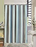 Blau, Weiß, Brown Streifen Polyester Duschvorhang, Anti-Schimmel & Anti-Bakteriell Duschvorhänge für Bad Badezimmer 180 x 200 cm + 12 Haken ShowPower