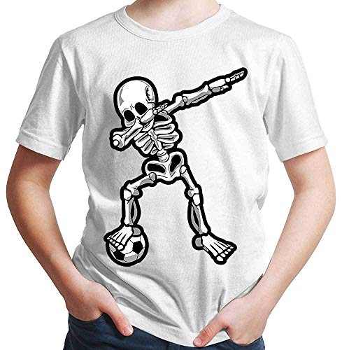 HARIZ  Jungen T-Shirt Dab Skelett mit Fussball Dab Dabbing Dance Halloween Plus Geschenkkarten Weiß 98/2-3 Jahre