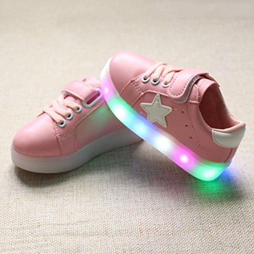 Highdas Jungen Mädchen Leder Prewalker Light Up Schuhe Pink