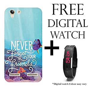 Hamee Disney Pixar Finding Dory Licensed Hard Back Case Cover For Lenovo A6000 / A6000 Plus Cover with Free Digital Watch - Combo 29