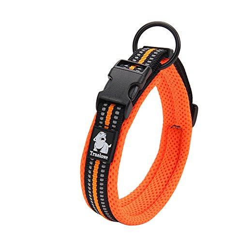 Einstellbare 3M reflektierende Hundehalsband Nylon Haustier Kragen gepolstert 1 ''große atmungsaktive Anti-Choke Anti-Reiben Mesh mit Ring (L Länge: 45-50cm, Orange) (Haustier-kragen)