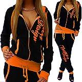 Unbekannt Damen Jogginganzug Trainingsanzug Hose + Jacke 2tlg Set Fitness große größen A.Power (Schwarz-Orange, XS (fällt aus wie 36))