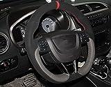 YUWATON Funda de piel auténtica para volante de coche, para Seat Leon Cupra, ajuste 38 cm, transpirable, antideslizante, protección de la funda de la rueda de coche, buen agarre.