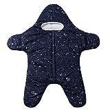 Baby Winter Schlummersack Kreativ Seestern Swaddle Decke für 6-24 Monat Neugeborenes Baby Kinderwagen Schlafen Sack Sicherheitsdecken Pyjamas Babydecken Mit Kapuze (#2 Blau, 12-24 Monat)