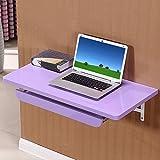 FEI Mesa de escritorio de la computadora montada en la pared  Madera  con soporte de teclado  Rosa Púrpura Blanco ( Color : Purple , Tamaño : L 100*W40CM )