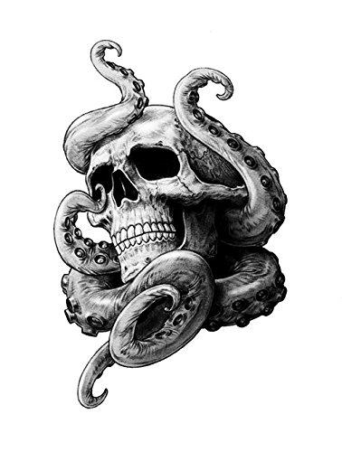 Unbekannt Tentakel Skull Aufkleber Krake Schädel Totenkopf Tattoo ca. 13x9 cm Sticker Autoaufkleber