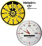 alles-meine.de GmbH Uhr aus Glas - Wanduhr -  Tüv Plakette  - 30,5 cm groß - Sehr Leise ! - Rück..