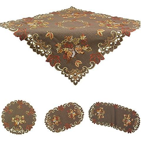 Búhos en otoño hojas–Mantel camino de mesa (funda de cojín (aspecto de lino marrón bordado–tamaño a elegir), poliéster, marrón, 45 cm x 110 cm