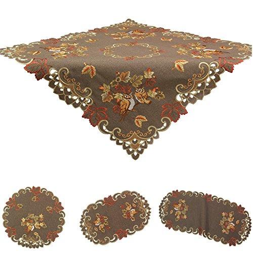 tter Tischdeckchen Tischläufer Decke Leinen-Optik Braun Stickerei (ca. 30 x 45 cm Oval) (Herbst Blätter Tischläufer)