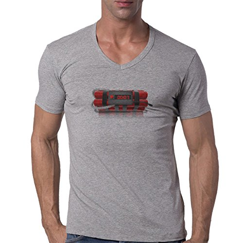 Bomb Atom Boom Fire Digital Herren V-Neck T-Shirt Grau