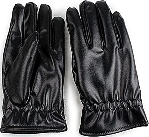 GPCT [Unisex] [Warm] Stylish PU/Faux Leather [Soft] [High Quality] Winter Driving Gloves- (Black) (XL)
