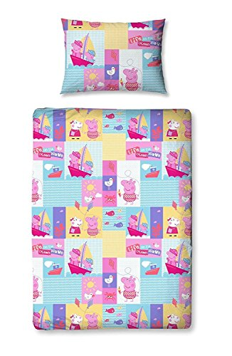 Children's Cot / Junior / Toddler Bed Duvet Cover and Pillowcase Sets - 120cm x 150cm (Peppa Pig 'Nautical')