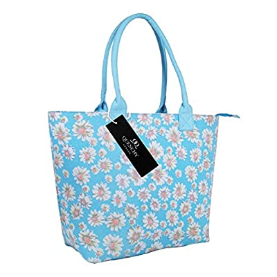 Canvas Tote Shopper Bag - Ideal Beach Bags - Holiday Shoulder Handbag Totes Shopping Style - 17 Floral Summer Print Designs - Daisy, Polka Dot, Wall Flower, Plain Navy Blue, Black - Quenchy London - totes