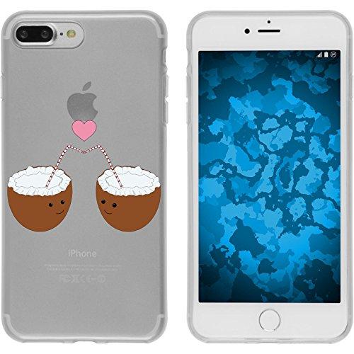 PhoneNatic Apple iPhone 7 Plus / 8 Plus Custodia in Silicone estate M6 Case iPhone 7 Plus / 8 Plus + pellicola protettiva Motif 03: Noce di cocco