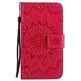 Lomogo Samsung Galaxy S5 Hülle Leder Blumenprägung, Schutzhülle Brieftasche mit Kartenfach Klappbar Magnetverschluss Stoßfest Kratzfest Handyhülle Case für Samsung Galaxy S5 - KATU22256 Rot