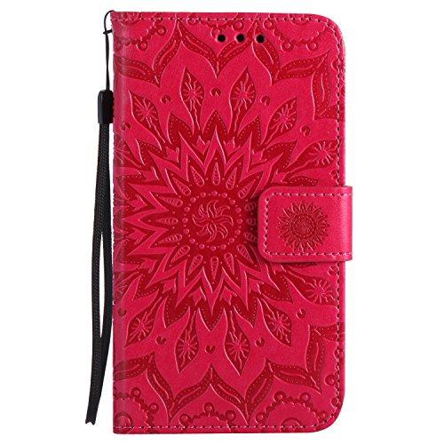 Lomogo Samsung Galaxy S5 Hülle Leder Blumenprägung, Schutzhülle Brieftasche mit Kartenfach Klappbar Magnetverschluss Stoßfest Kratzfest Handyhülle Case für Samsung Galaxy S5 - KATU22256 Rot (Galaxy Und Phone Brieftaschen Cases S5)