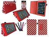 Emartbuy® Asus Google Nexus 7 2 II Tablet (Lanciato Luglio 2013) Bundle 5 Stylus + Pois Rossi / Pu Bianco Multifunzioni In Pelle / Multi Angle Portafoglio / Cover / Stand / Case Typing